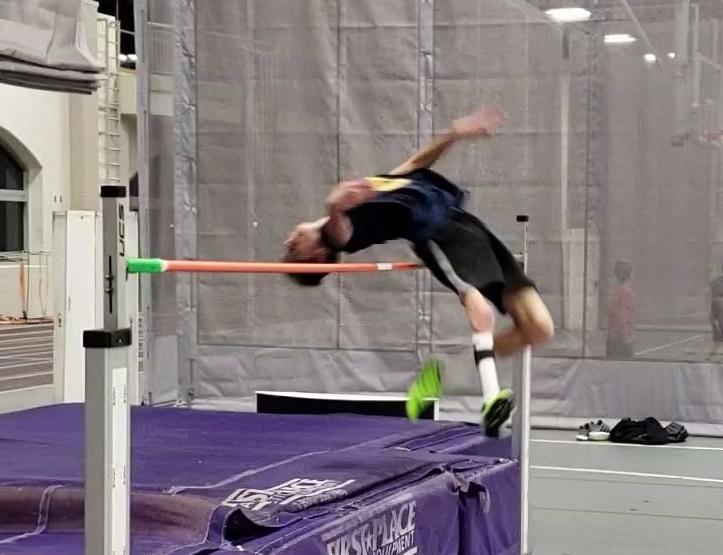 Jaysen Justice high jumps competitively  with a titanium rod in his right leg.  Image courtesy Justice.
