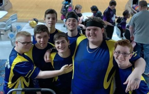 Casual group shot of the LHS boys' bowling team.