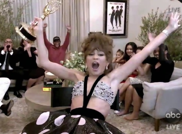 Zendaya celebrates Emmy win.  Photo courtesy of ABC.